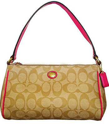 Nwt Coach F51175 Peyton Signature Top Handle Pouch $158
