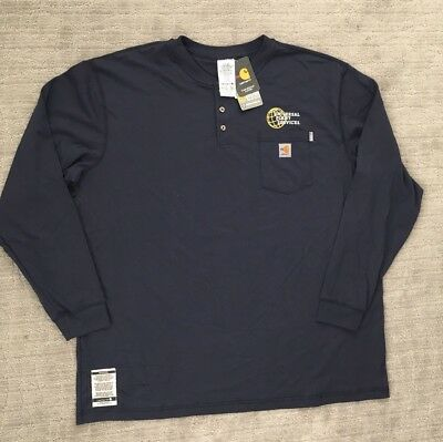 NWTCarhartt Mens Flame Resistant Force Cotton Long Sleeve Henley, Navy, Size 3XL