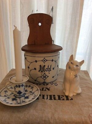 Royal Copenhagen Blue Fluted SetOf Cat Figurine+Candleholder+Wall Container