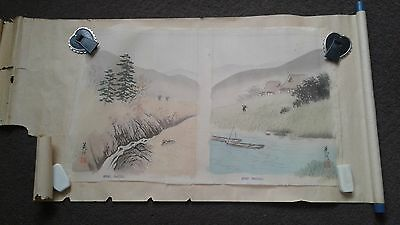 Pair of vintage Japanese paintings on silk wrapped in scroll