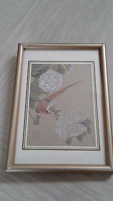 vintage small Chinese painting on silk signed