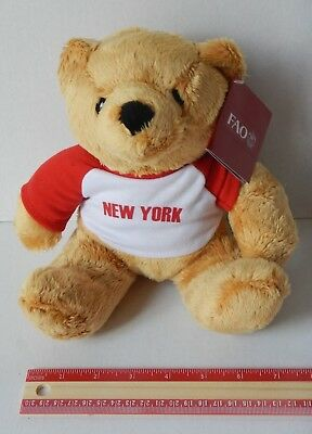 NEW F.A.O Schwarz 8 Inch  New York City Stuffed Teddy Bear Soft Toy NYC Souvenir
