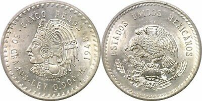 1948 Mexico 5 Pesos Silver Cuauhtemoc KM# 465 Almost Uncirculated