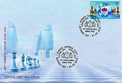 Kyrgyzstan KEP 2016 FDC 42nd Chess Olympiad Baku 1v Set Cover Stamps