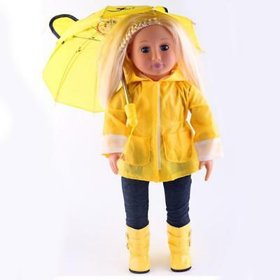 Trendy Yellow Raincoat Clothes for 18 inch American Girl Our Generation Doll