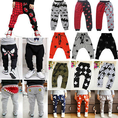 Kids Baby Boy Girl Harem Pants Trousers Casual Jogger Elastic Bottoms Sweatpants