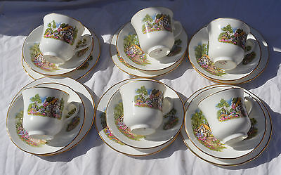 Vintage Queen Anne China COUNTRY  COTTAGE  TEASET TRIOS X 6