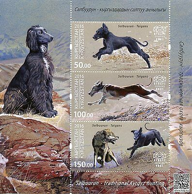 Kyrgyzstan KEP 2016 MNH Salbuurun Traditional Hunting Taigans 3v M/S Dogs Stamps