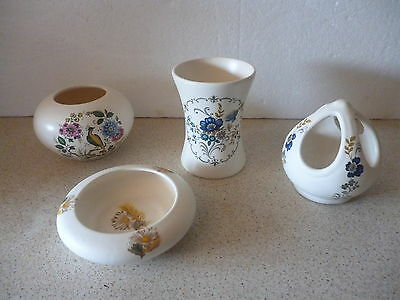 4 Pieces Of Purbeck Pottery Vases Dish Floral & Peacock Designs