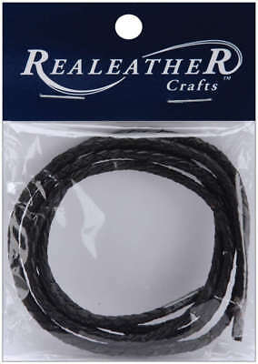 """Round Braided Leather Lace 3mmX40"""" Packaged Black RBL0301-01"""