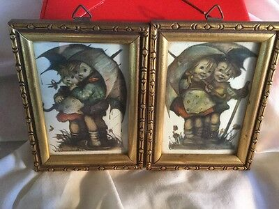 "PAIR (2) Rare Vintage 3"" Original Hummel Print in Frame Germany Collectibles"