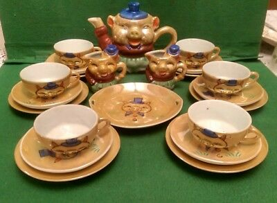 Vintage 1950s Childs Lustre Tea Set decorated with Pigs