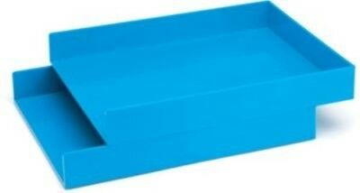 "2/Bx Poppin Letter Trays, Pool Blue, 12.5""L x 9.75""W x 1.75""H ~ Free Shipping"