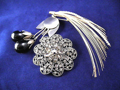 Beautiful Brooch Lot of Three - (1) Signed HOLLYCRAFT