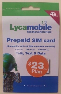 LYCAMOBILE PRELOADED 3 in 1 SIM W/ 1 MONTH OF THE $23 PLAN INCLUDED