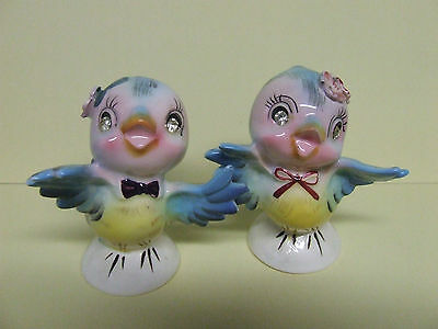 Vintage Lefton Blue Birds w/Flowers & Rhinestones Salt & Pepper (Japan/#6871)
