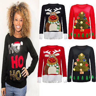 7a38e12a8e39 New 2017 Ladies Christmas Tunic Jumper Womens Novelty Xmas Knitted Retro  Sweater