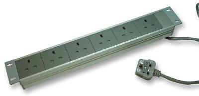 """19"""" Rack Mount 6 Way Surge Protected Extension Lead, Horizontal"""