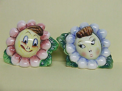 Vintage Anthropomorphic Flower Faces Salt & Pepper Shakers