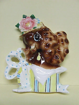 Vintage Lefton(?) Puppy Dog Sitting in Hat Box Wall Plaque (ESD/Japan)