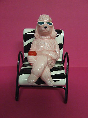 Pelzman Stacker Poodle/Dog w/Sunglasses in Zebra Print Chair Salt & Pepper