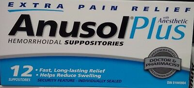Anusol Plus Extra Pain Relief Anesthetic Hermorrhoid 12 Suppositories Exp.08/19