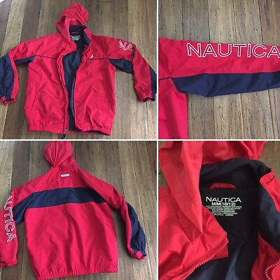 Vintage Boys Kids Nautica Spell Out Jacket Sailboat Red White Blue Size 10/12