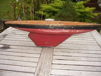 """Vintage Largs Built  Racing Pond Yacht Wooden  Hull Only - 18"""" Long - Renovation"""