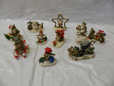 """Lot of 11 Fitz and Floyd Charming Tails """"Christmas and Winter Themed"""" Figures"""