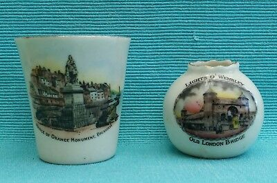 2 vintage souvenir china vases Brixham (Carlton ware) & Wembley Exhibition 1925