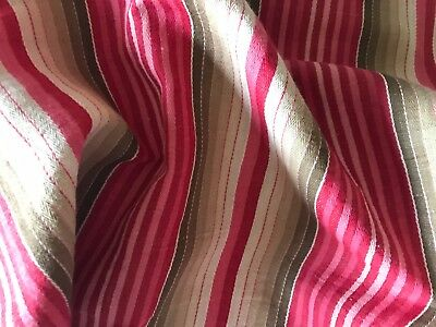 Antique French Ticking Fabric - Striped Fabric  - Red And Brown Gradations
