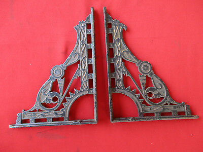 2 Antique Ornate Victorian Shelf Brackets Architectural Cast Iron Nice LOOK 1158