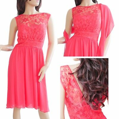 Coral Red Lace Cocktail Dress - perfect for weddings & dinner w/ Scarf (size 12)
