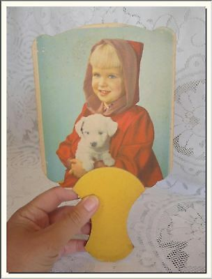 Antique Little Red Riding Hood Handheld Advertising Fan . Visit My Store !!!