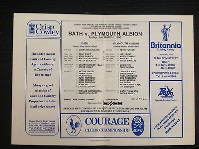 Bath v Plymouth Rugby Programme 1990