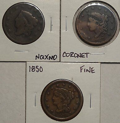 Lot of Three Large Cents, Different Types: 1835, 1837 & 1850, Circulated 1123-17