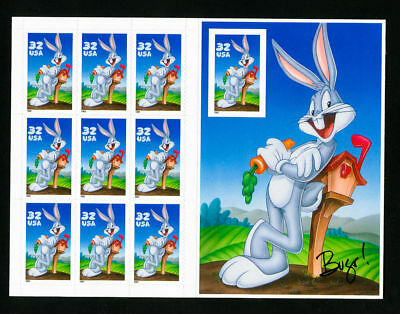 US Stamps # 3138 XF NH Bugs Bunny Die Error Sheet Clean Scott Value $175.00
