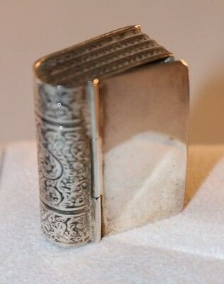 Vintage Sterling Silver Book Trinket Pill Box 925 Hinged Snuff