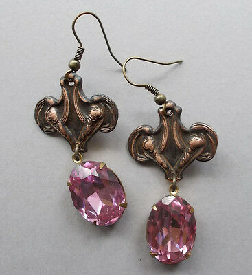 Art Nouveau Inspired Vintage Pink Glass Rhinestone Floral Dangle Earrings
