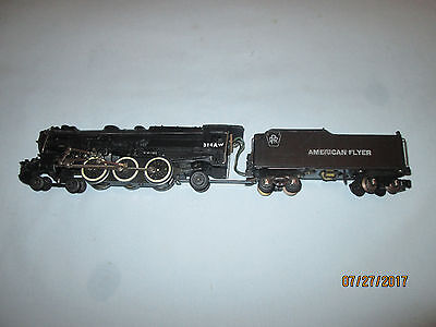 American Flyer #314AW 4-6-2 PRR Steam Locomotive & Tender. Runs and Smokes Well