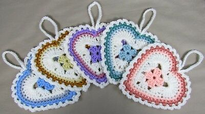 Crocheted Handmade Multi Color Hanging Hearts 5pc Set