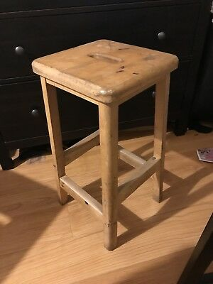 Vintage Wooden School Lab Stools Perfect up cycle project.