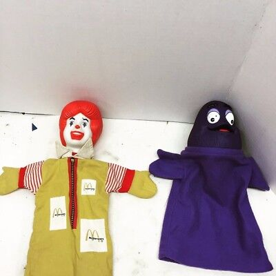 Ronald McDonald and Grimace hand puppets from 1993, Vintage Collectibles, Kids