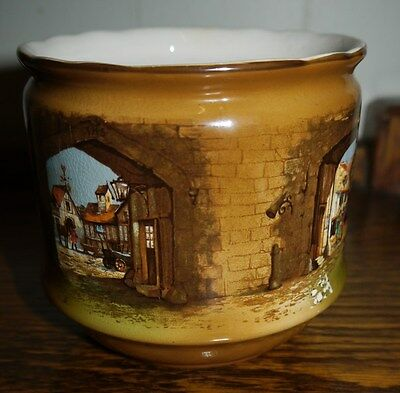 Antique L & Sons Jardiniere Hand Painted England 11cm Tall Depicts 1570 Township