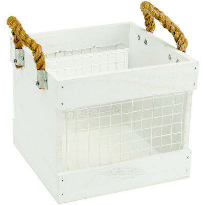 "Jillibean Soup Mix The Media Wood & Chickenwire Crate 7.75""X7.75""X8"" White W/Rop"