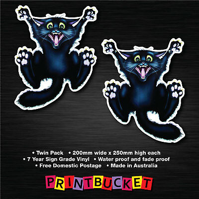 Cat funny hang in there sticker twin pack large water & fade proof  7yr vinyl