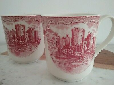 Johnson Bros pair pink old Britain castle mugs