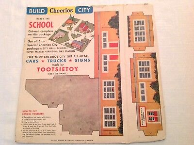 Cheerios City Cereal Box Back/1 Side Panel: School w/Tootsietoy Offer c.1956
