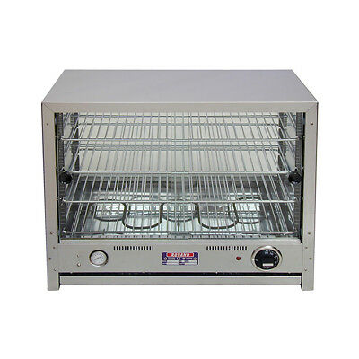 Hot Food Display Warmer 50 Pie Square Both Sides Glass Roband PA50G Professional