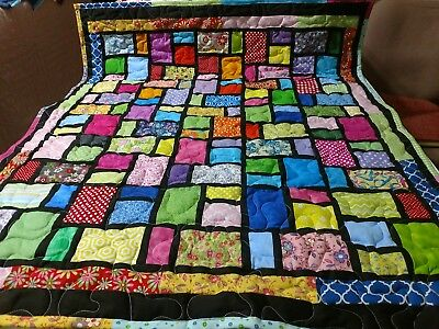 "Handcrafted Pieced Girl Coat Of Many Colors Baby Crib Lap Throw Quilt 41"" X 50"""
